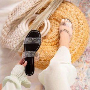 Shoes - Clear Rhinestone Double Band Sandals